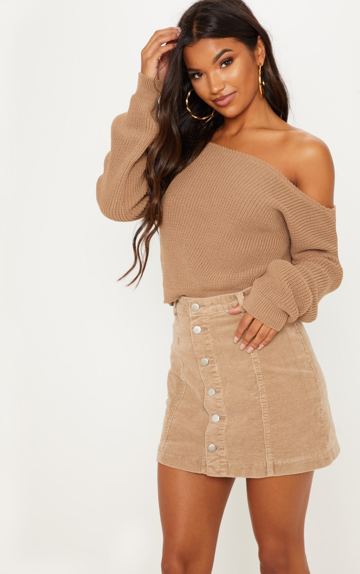 Taupe Off The Shoulder Knitted Crop Jumper 1