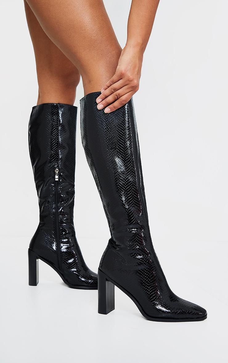 Black Pu Snake High Flat Block Heel Knee Boots 1