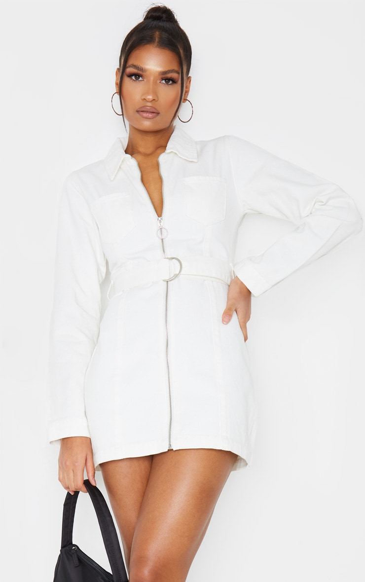 White Zip Up Belted Long Sleeve 2 Pocket Denim Dress 1