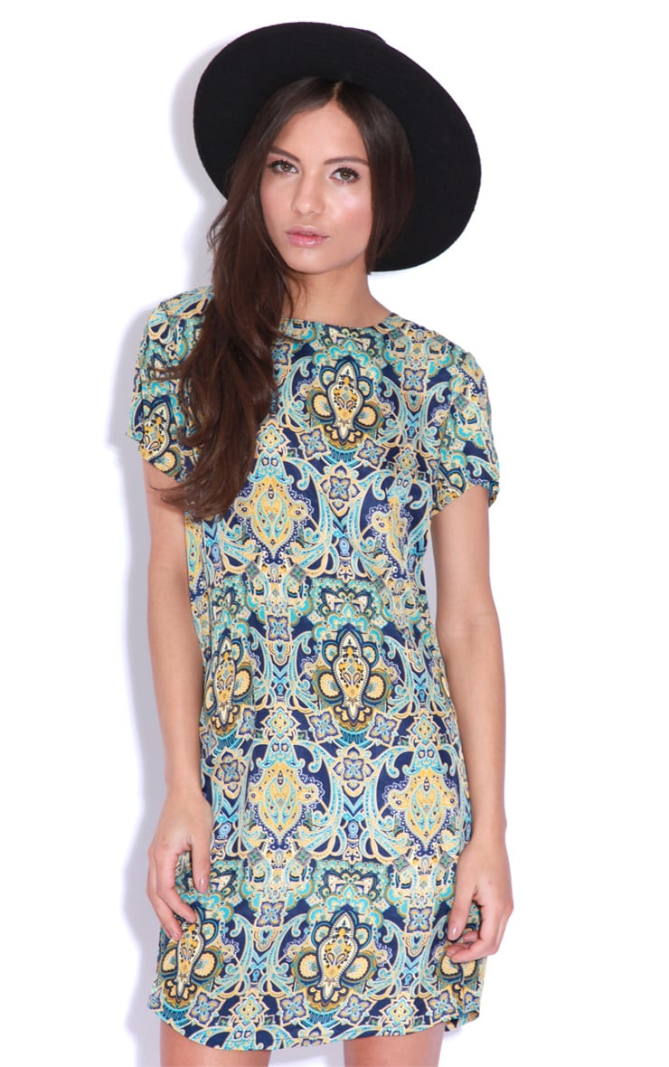 Drew Blue Flock Print Shift Dress 3