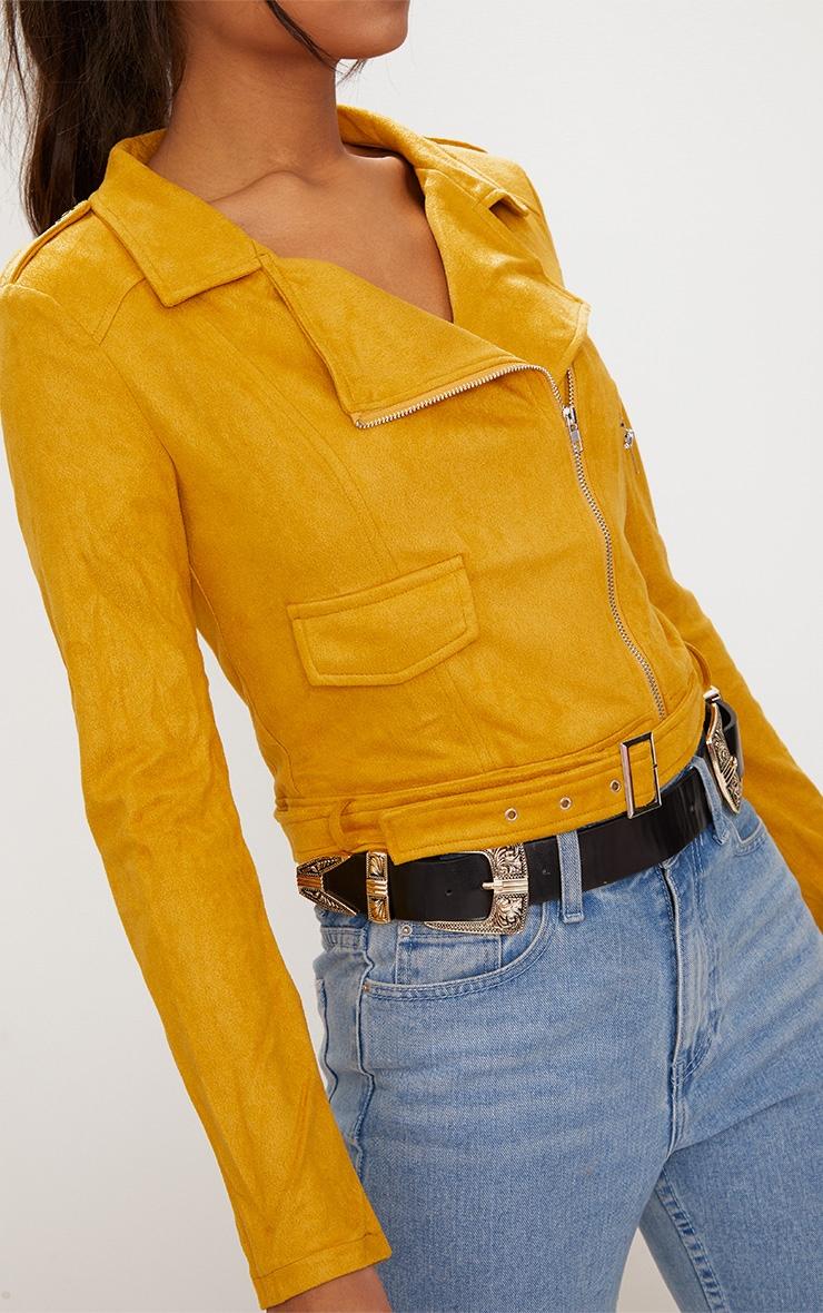 Niki veste biker en imitation daim jaune moutarde 5