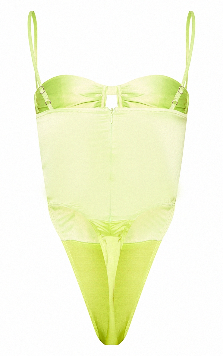 Shape Lime Woven Ruched Detail Cut Out Bodysuit 6