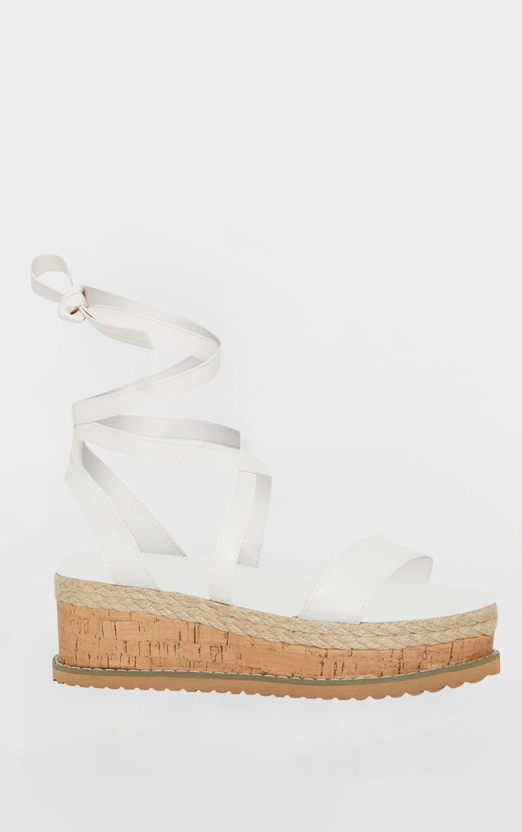 White Wide Fit PU Tie Ankle Espadrilles 3
