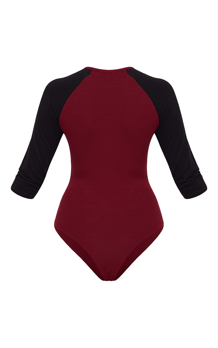 Burgundy Jersey Contrast Sleeve Thong Bodysuit 4