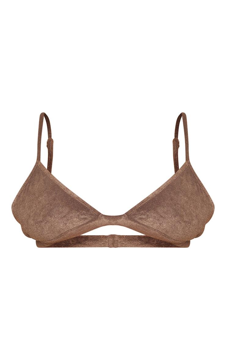 Plus Brown Towelling Bikini Top 5