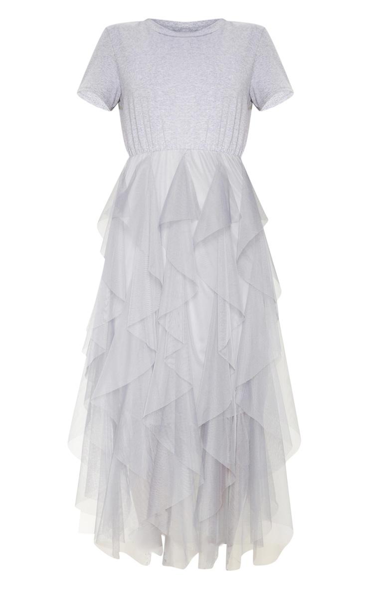 Grey Tulle Detail T Shirt Dress 3