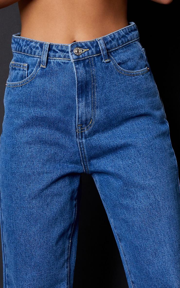 PRETTYLITTLETHING Petite Mid Blue Straight Leg Jeans 4