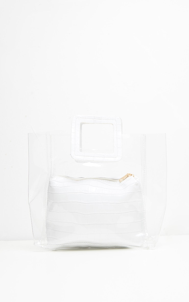 Sac à main blanc transparent à poignée croco 3