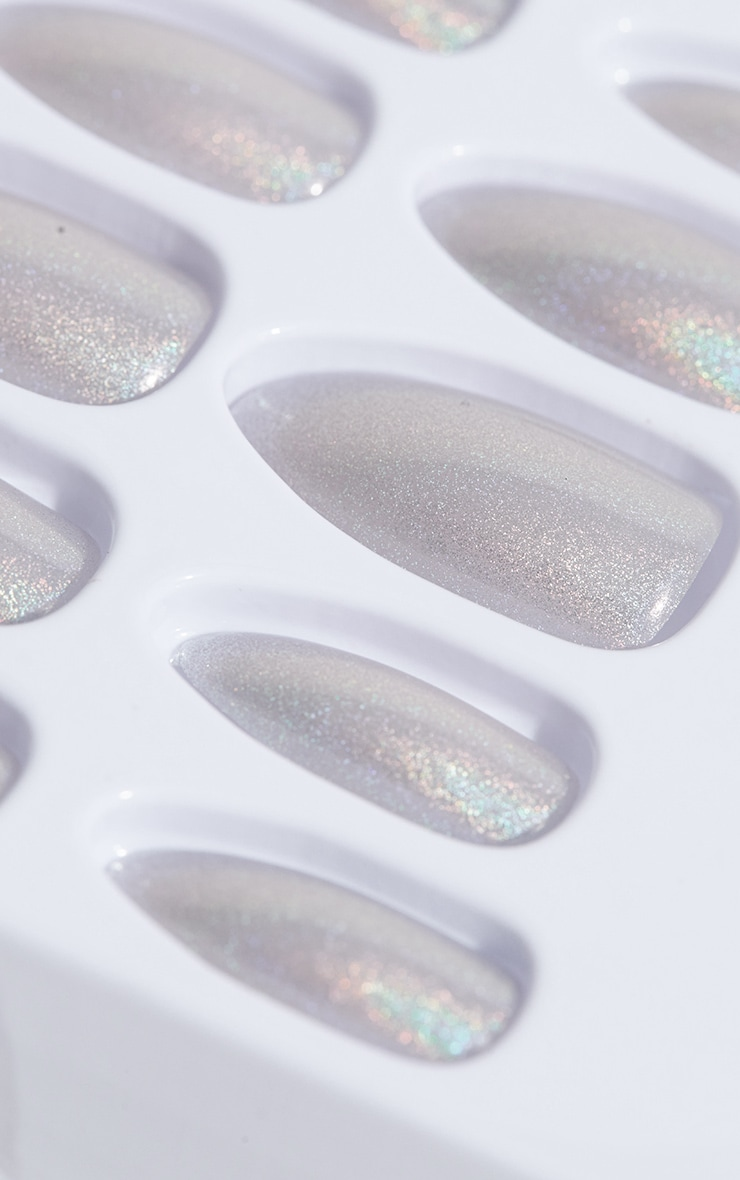 Elegant touch Silver Holographic Nails 2