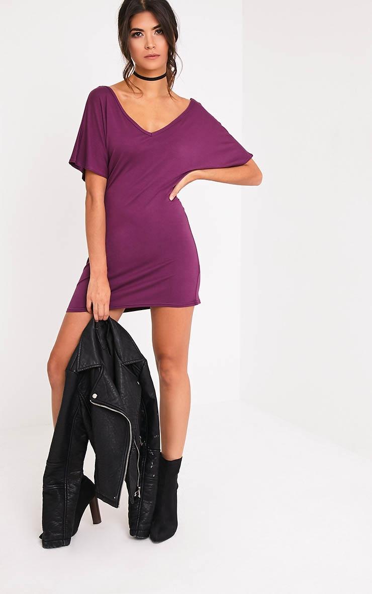 Basic robe t-shirt à col en V aubergine 5