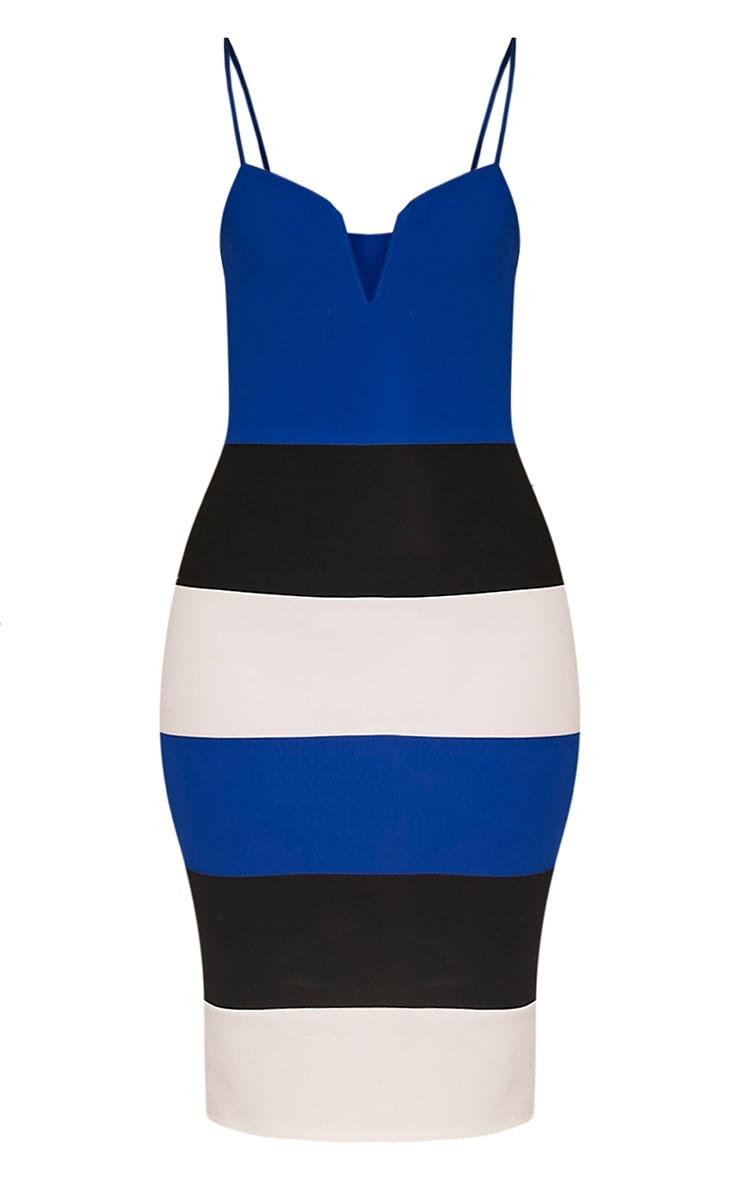 Ebony Cobalt Contrast Colour Block Bandage Dress 3