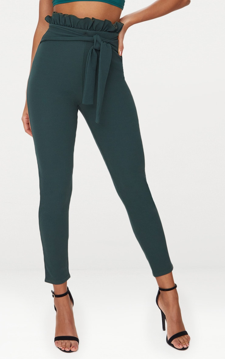 Emerald Green Paperbag Skinny Trousers 2