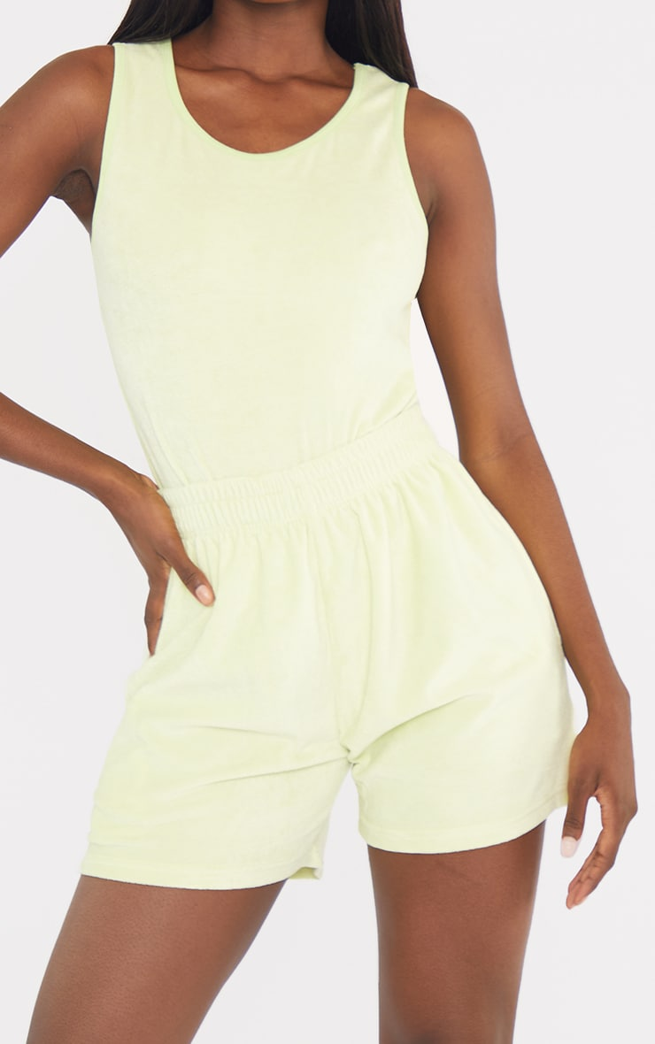 Tall Lime Velour Oversized Sweat Shorts 5