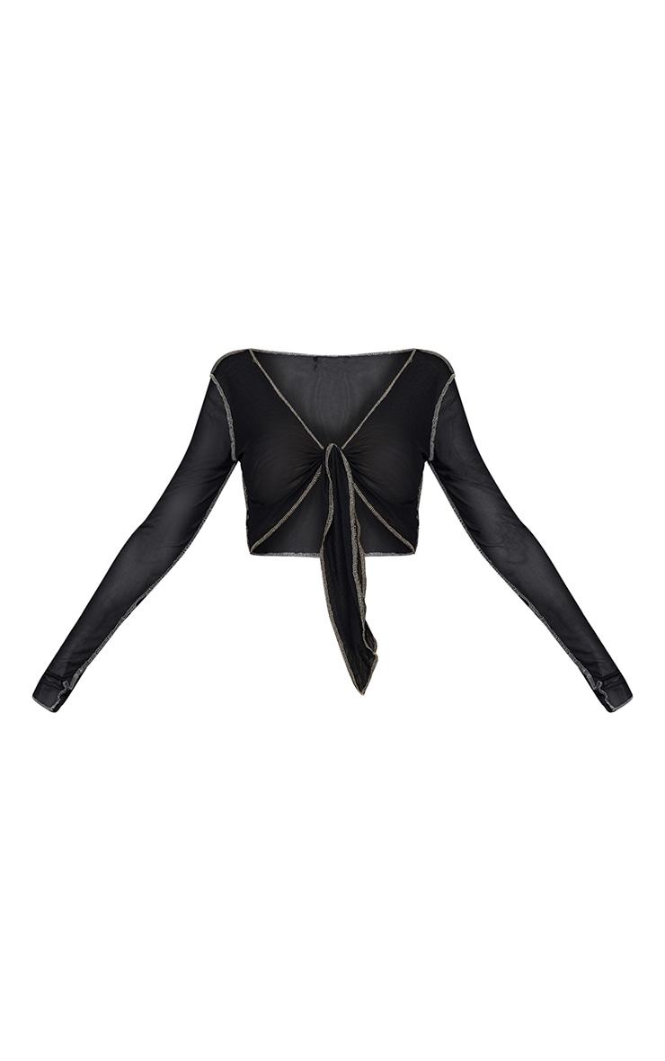 Black Mesh Contrast Stitch Tie Front Shirt 5