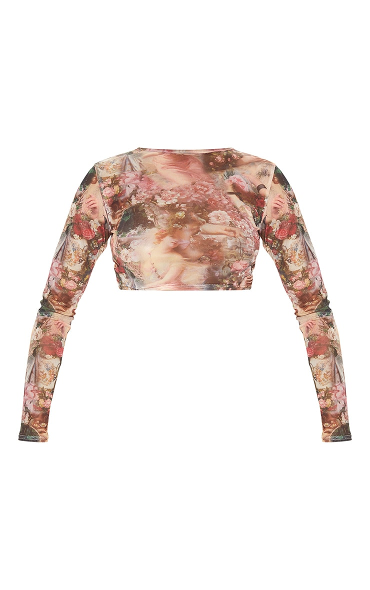 Rose Renaissance Printed Mesh Long Sleeve Crop Top 3