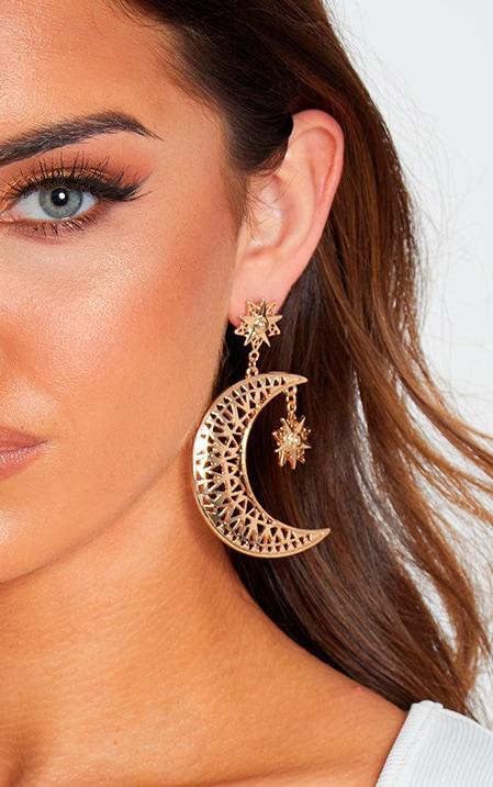 Gold Moon Star Drop Earrings by Prettylittlething