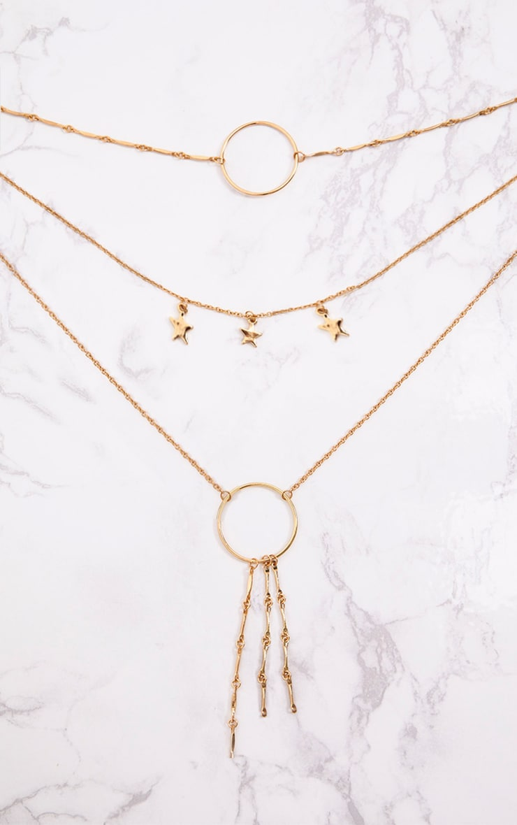 Gold Multi Layer Hoop and Star Drop Necklace 2