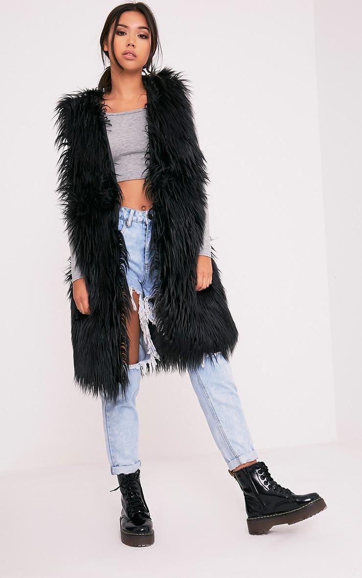 Brogen Black Soft Faux Fur Longline Gilet 4