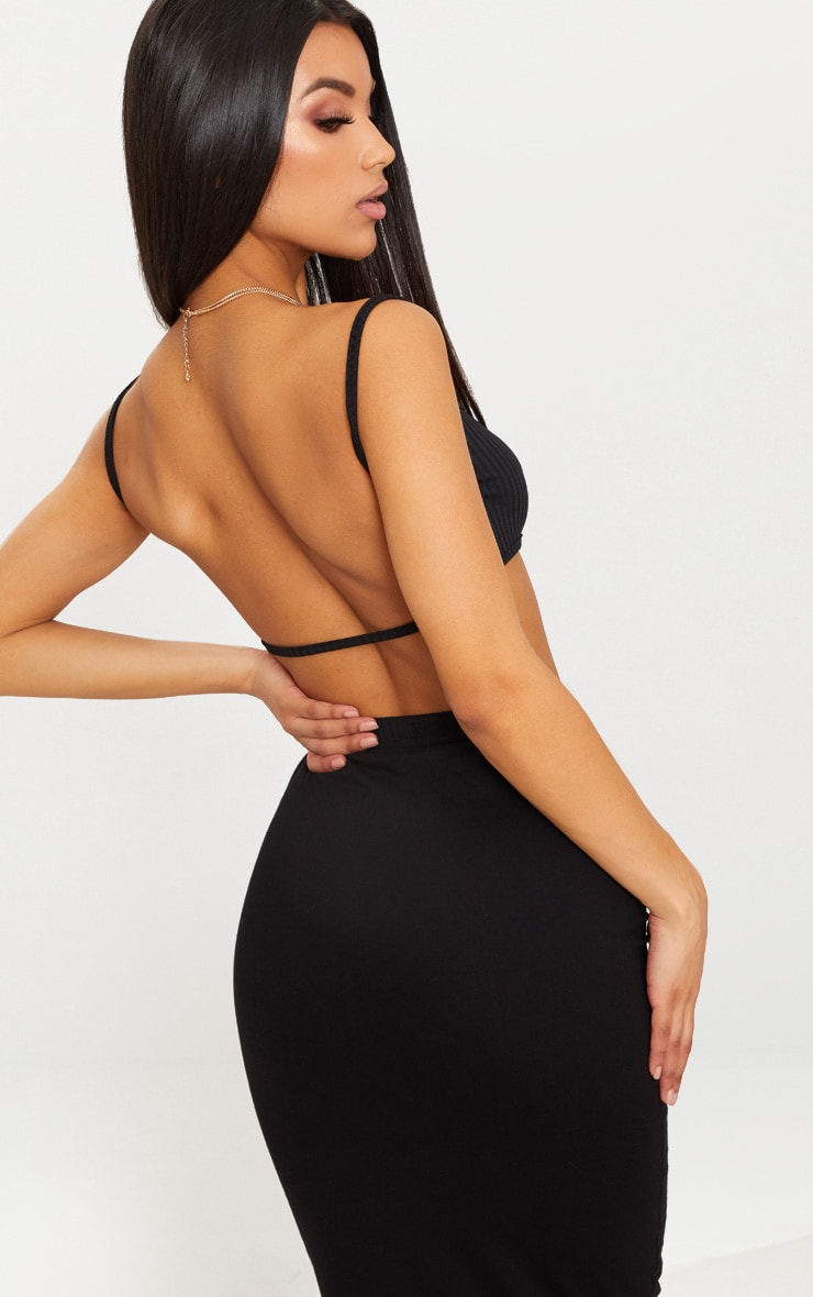 Black Rib Strappy Back Bralet  1