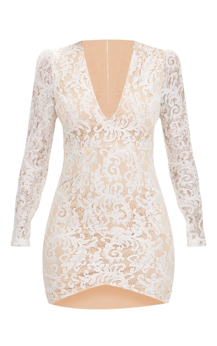 White Plunge Long Sleeved Lace Bodycon Dress  3