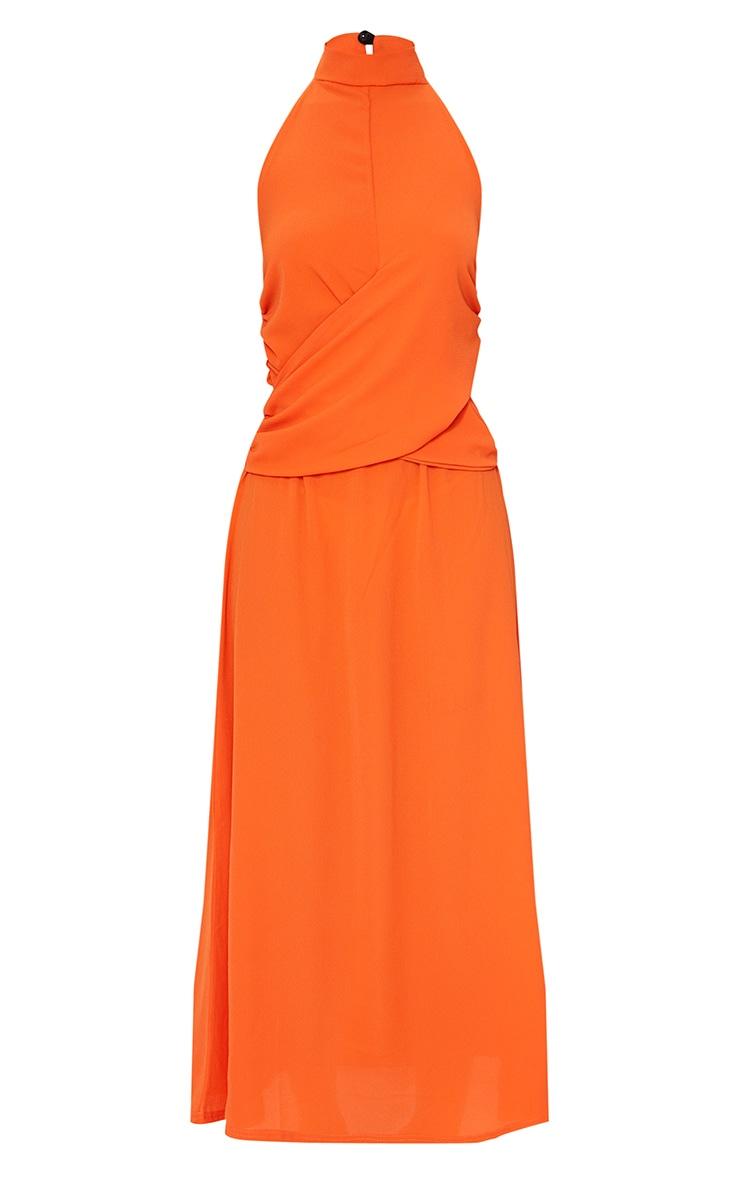 Tangerine Halterneck Wrap Front Maxi Dress 5