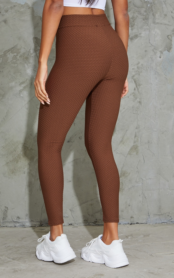 Chocolate V Waist Textured Leggings 3