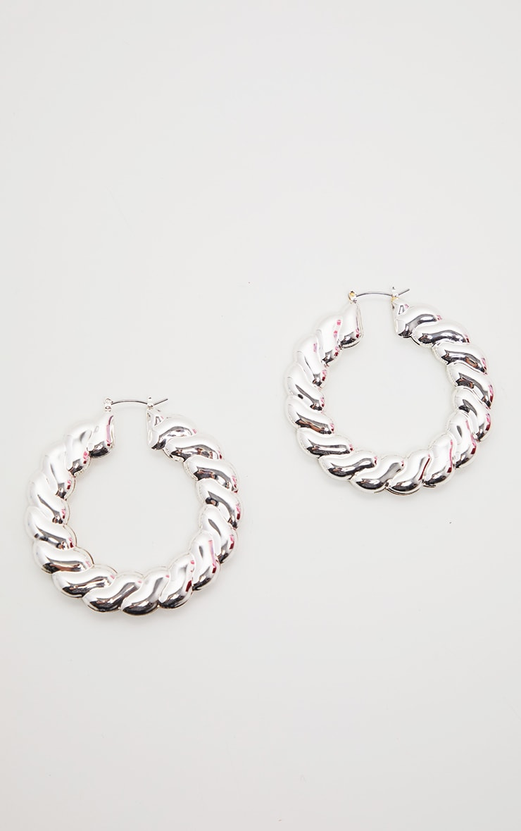 Silver Chunky Twist Chain Hoops 2