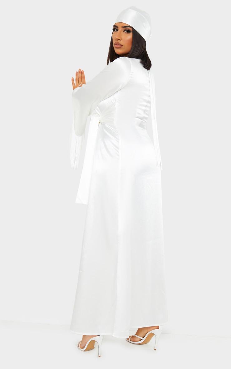 White Satin Pleated Belt Fringe Kimono Dress 2