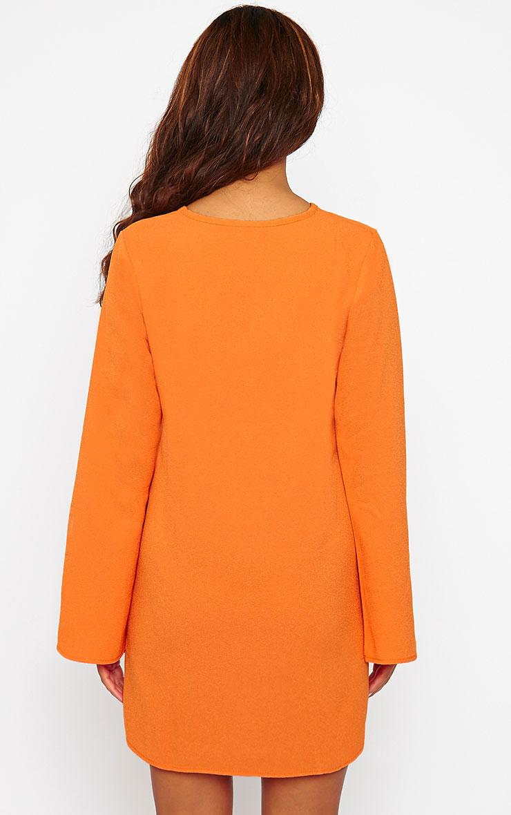 Liz Orange Cross Front Crepe Loose Fit Swing Dress 3