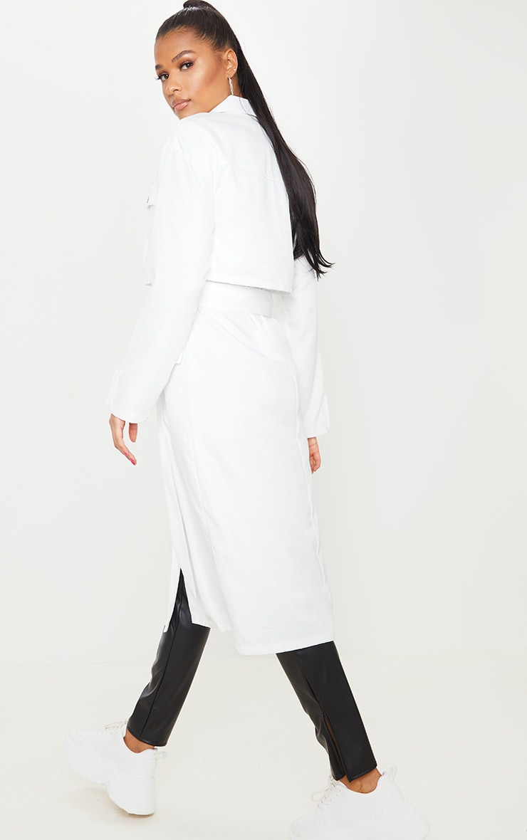 White Oversized Belted Trench Coat 2