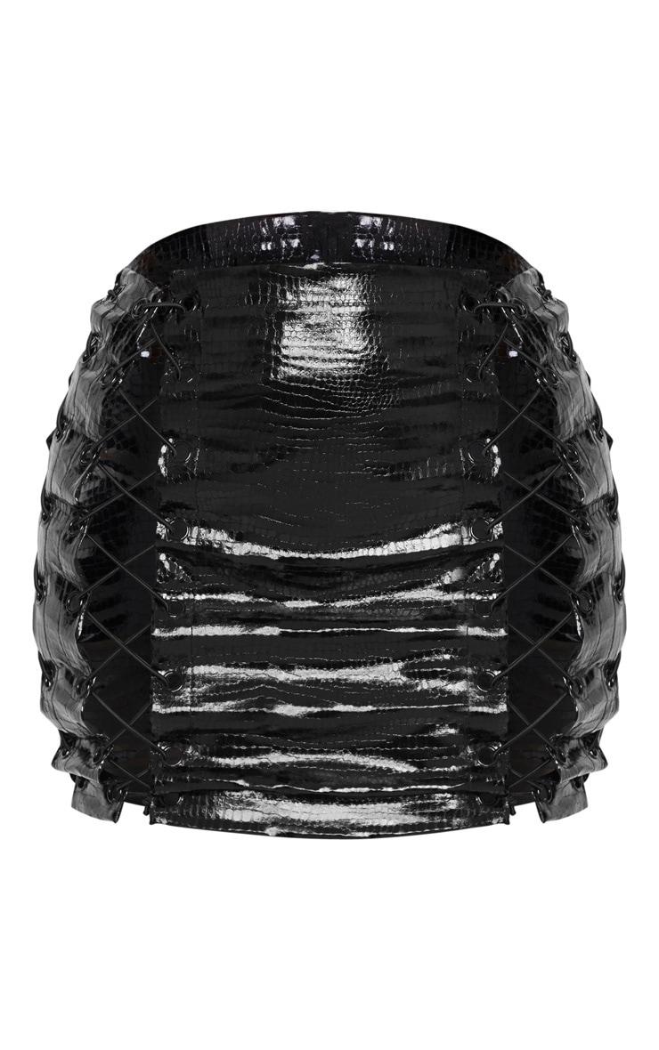 Black Croc Vinly Extreme Lace Up Mini Skirt 3