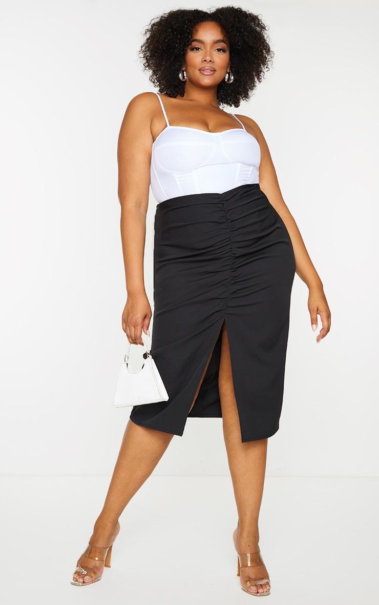 Plus Black Ruched Detail Split Skirt 1