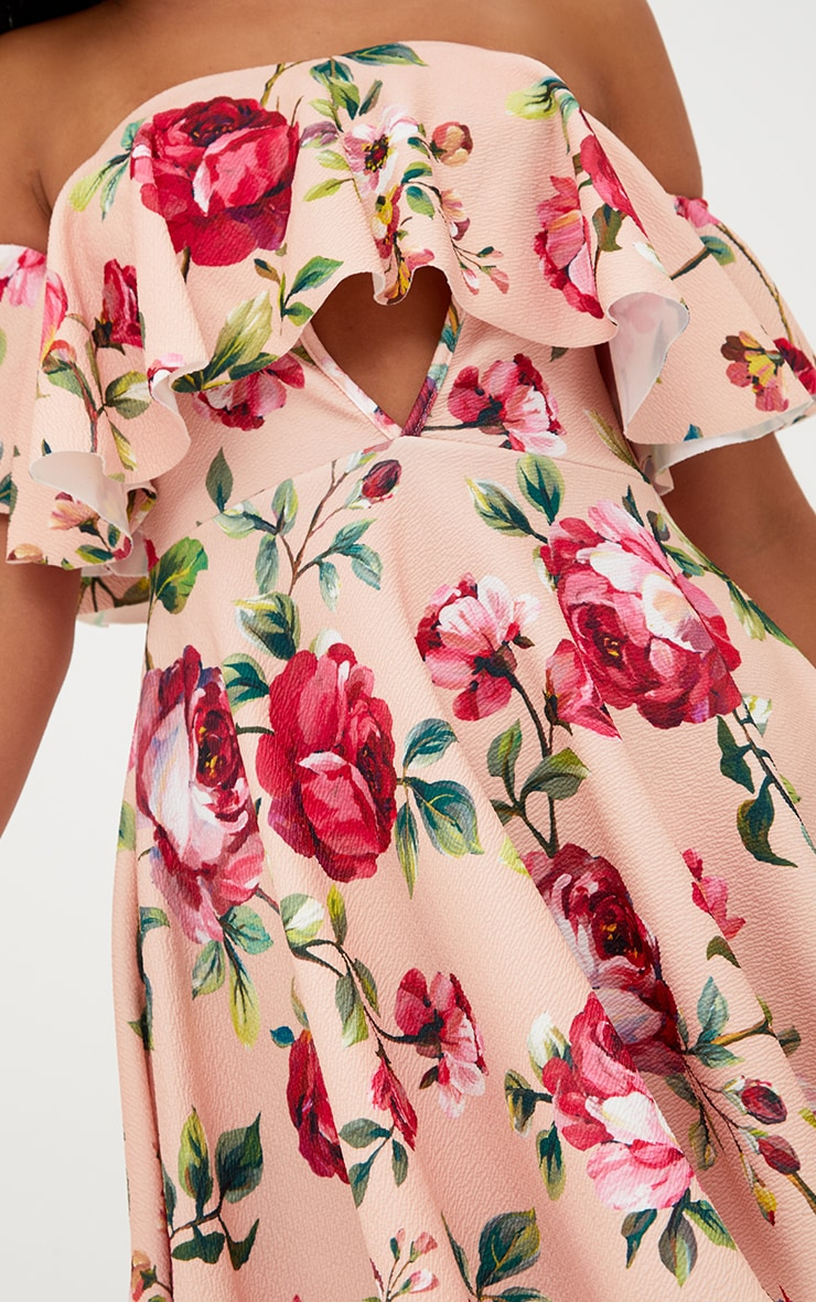 Pink Floral Bardot Cut Out Swing Dress 5