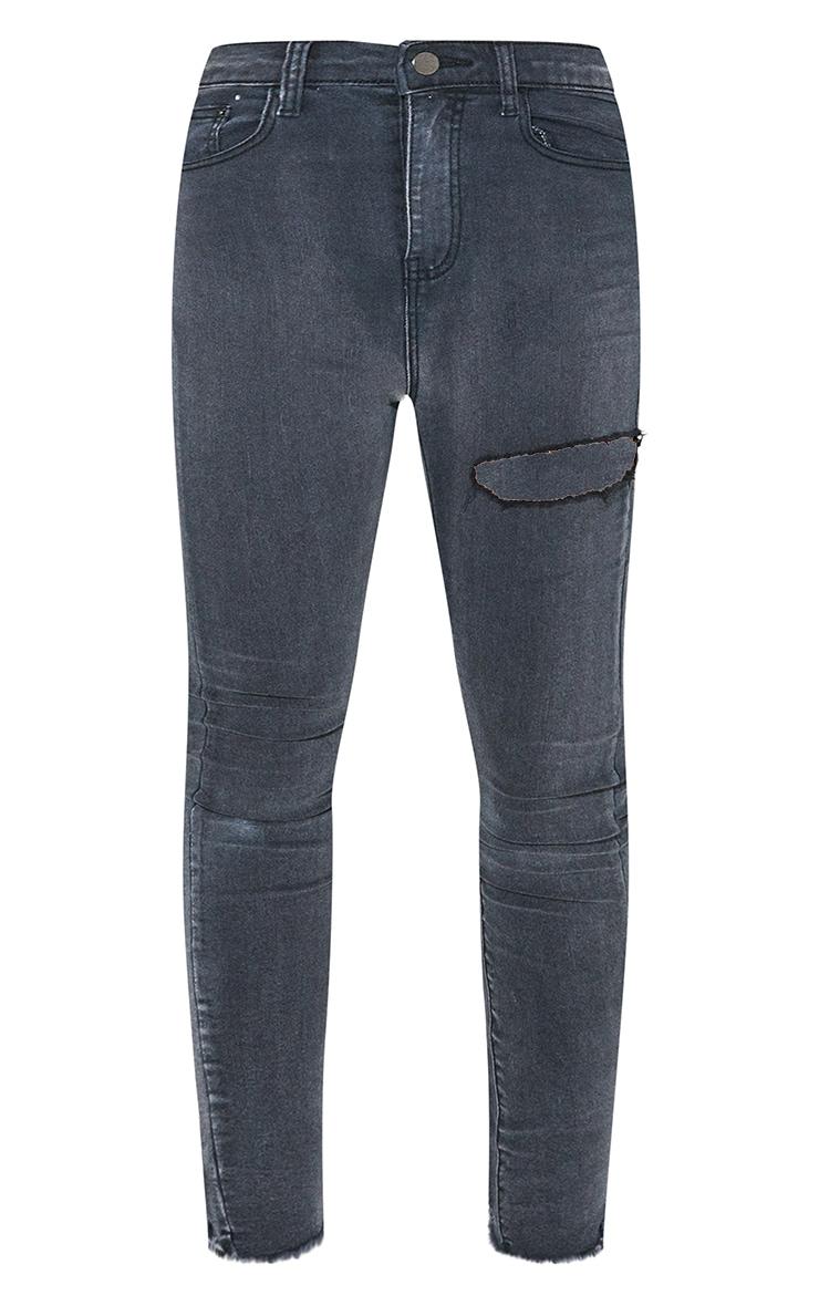 PRETTYLITTLETHING Petite Washed Black Thigh Rip Raw Hem 5 Pocket Skinny Jeans 5