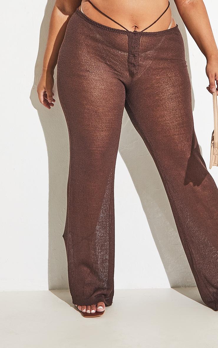 Plus Chocolate Tie Waist Detail Sheer Knit Flare Pants 7