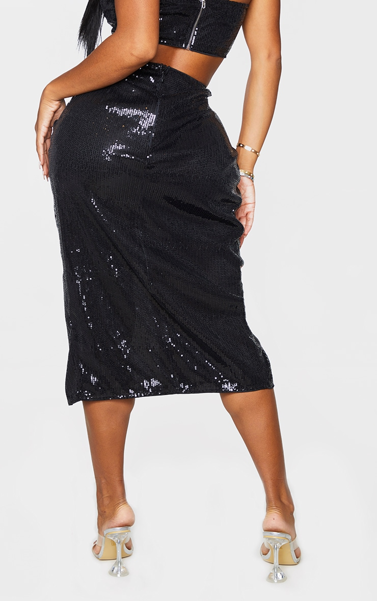 Shape Black Sequin Twist Detail Split Midi Skirt 3