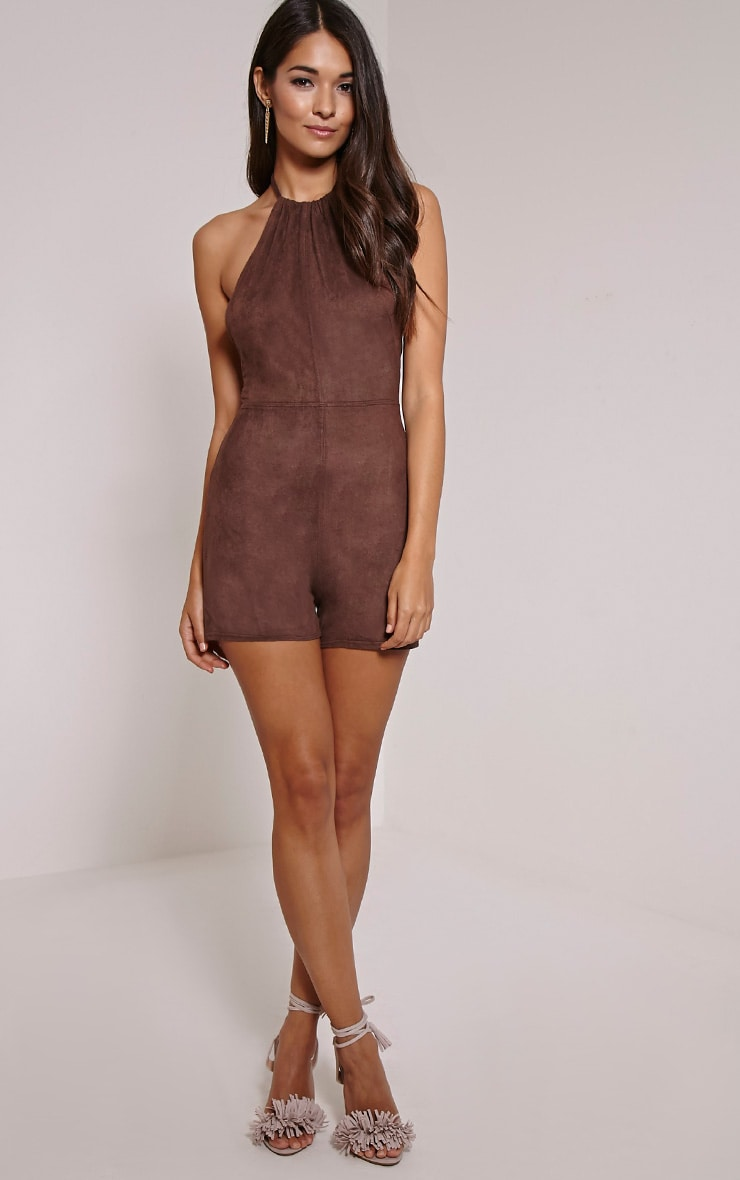 Stacy Chocolate Faux Suede Halterneck Playsuit 4
