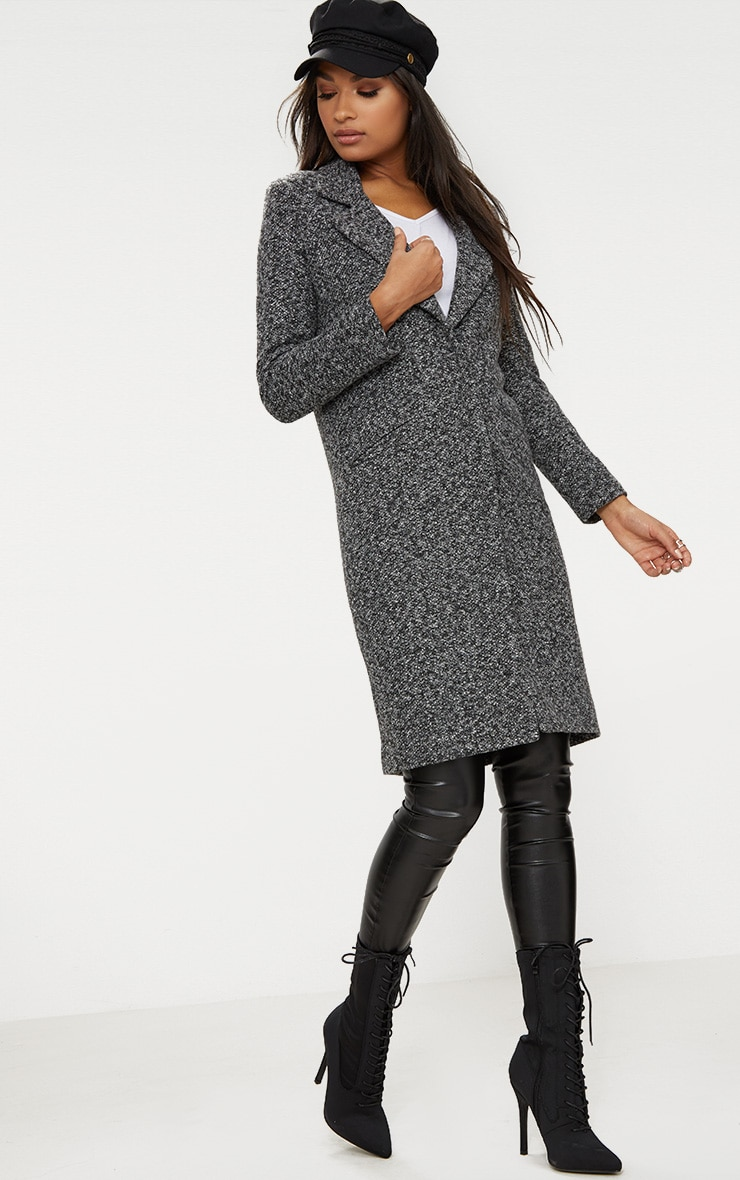 Grey Longline Wool Coat 4