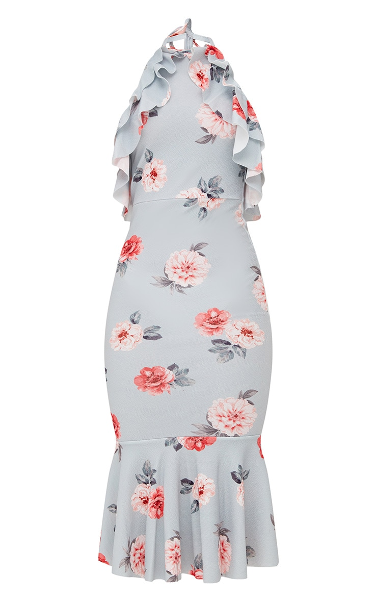 Ice Grey Floral Halterneck Frill Detail Fishtail Midi Dress 3