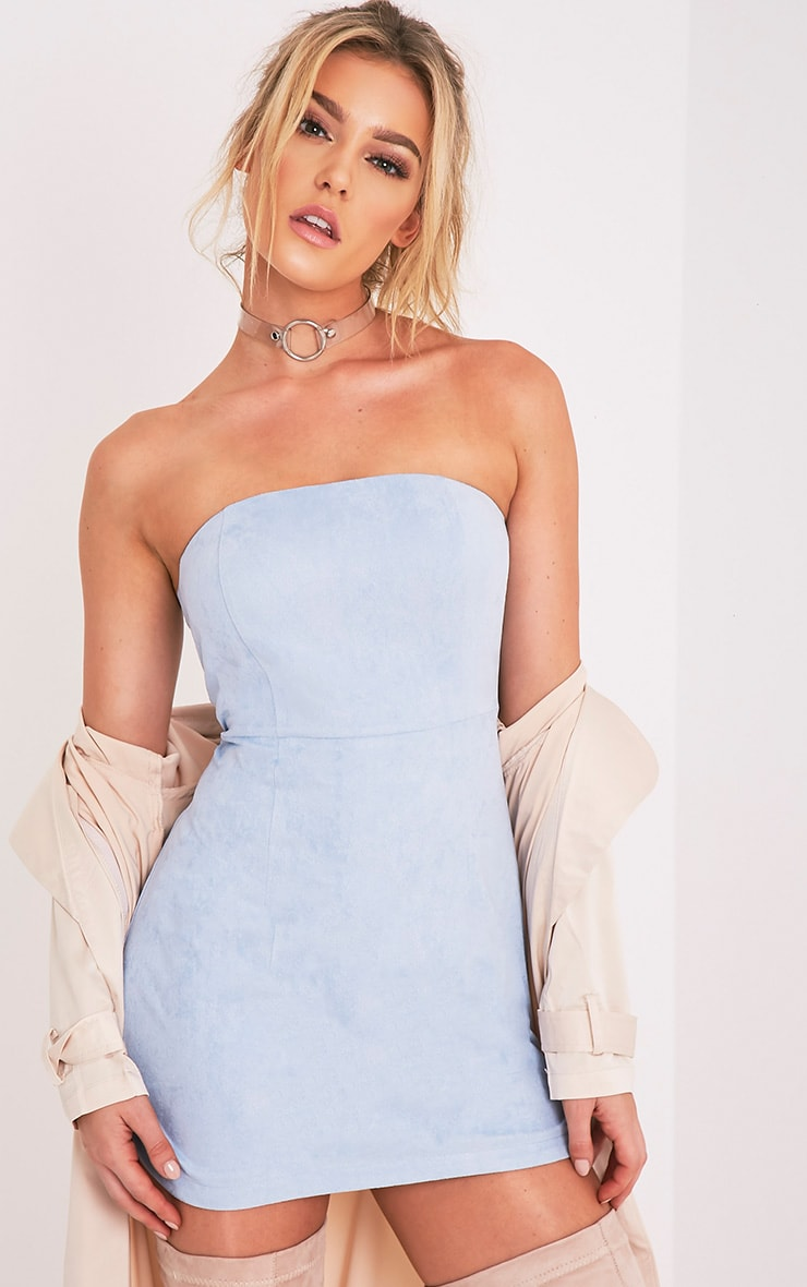 Dusty Blue Faux Suede Bandeau Bodycon Dress