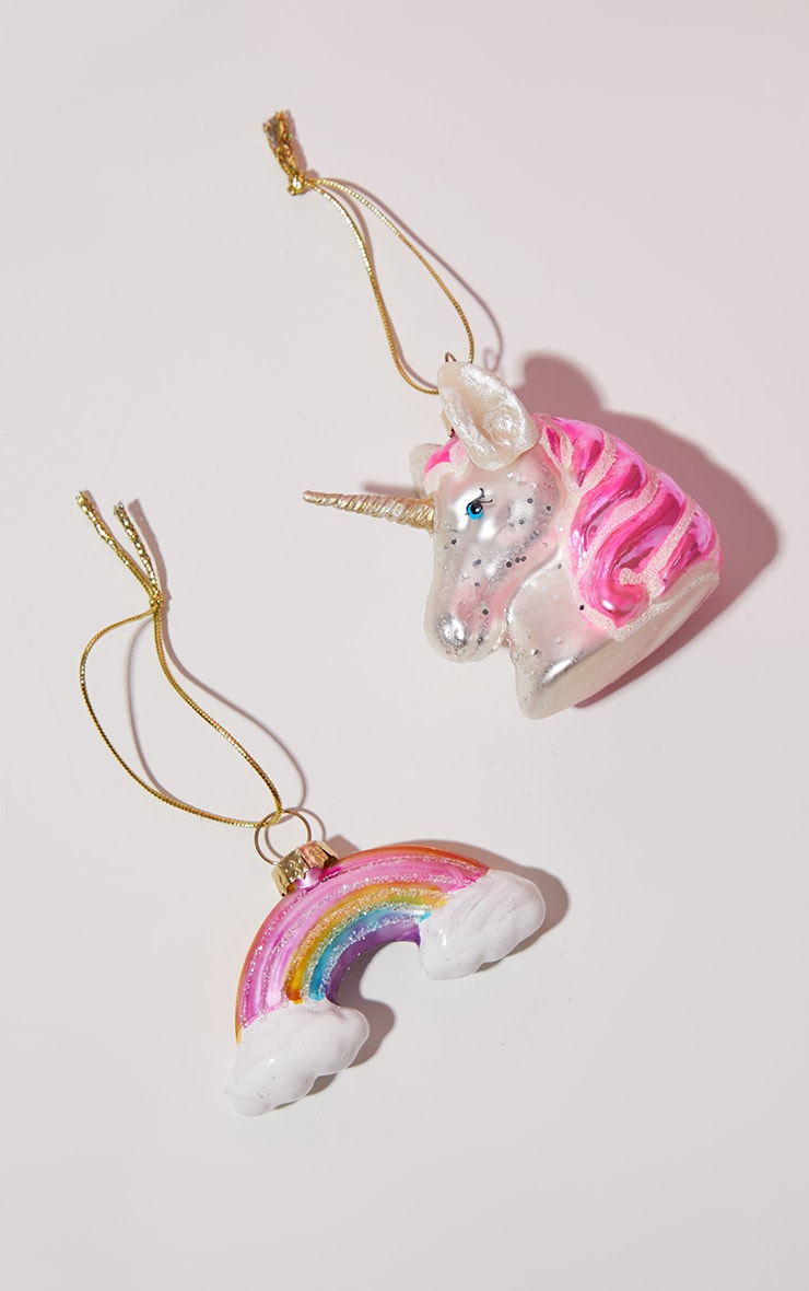 Sass & Belle Unicorn and Rainbow 2 Pack Baubles 3