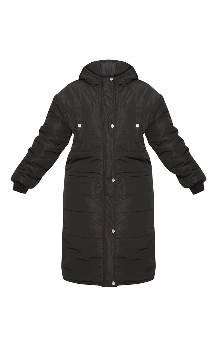 Plus Black Longline Puffer Coat 4