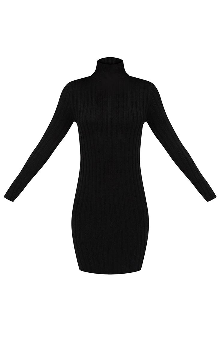 Black Rib Roll Neck Dress 3