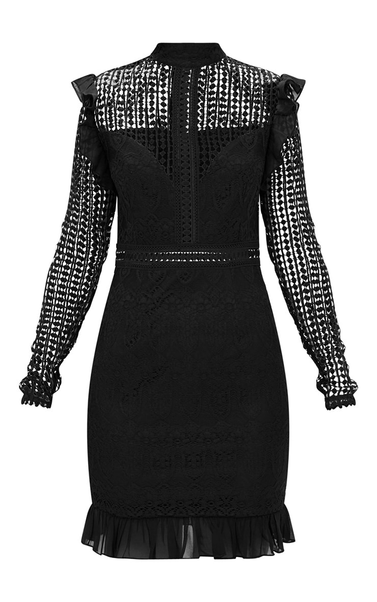 Black Lace Chiffon Frill Detail Bodycon Dress 3
