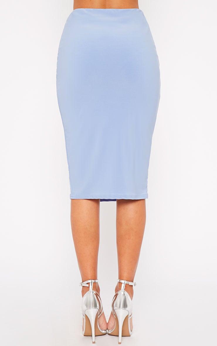 Bessie Powder Blue Slinky Midi Skirt 4