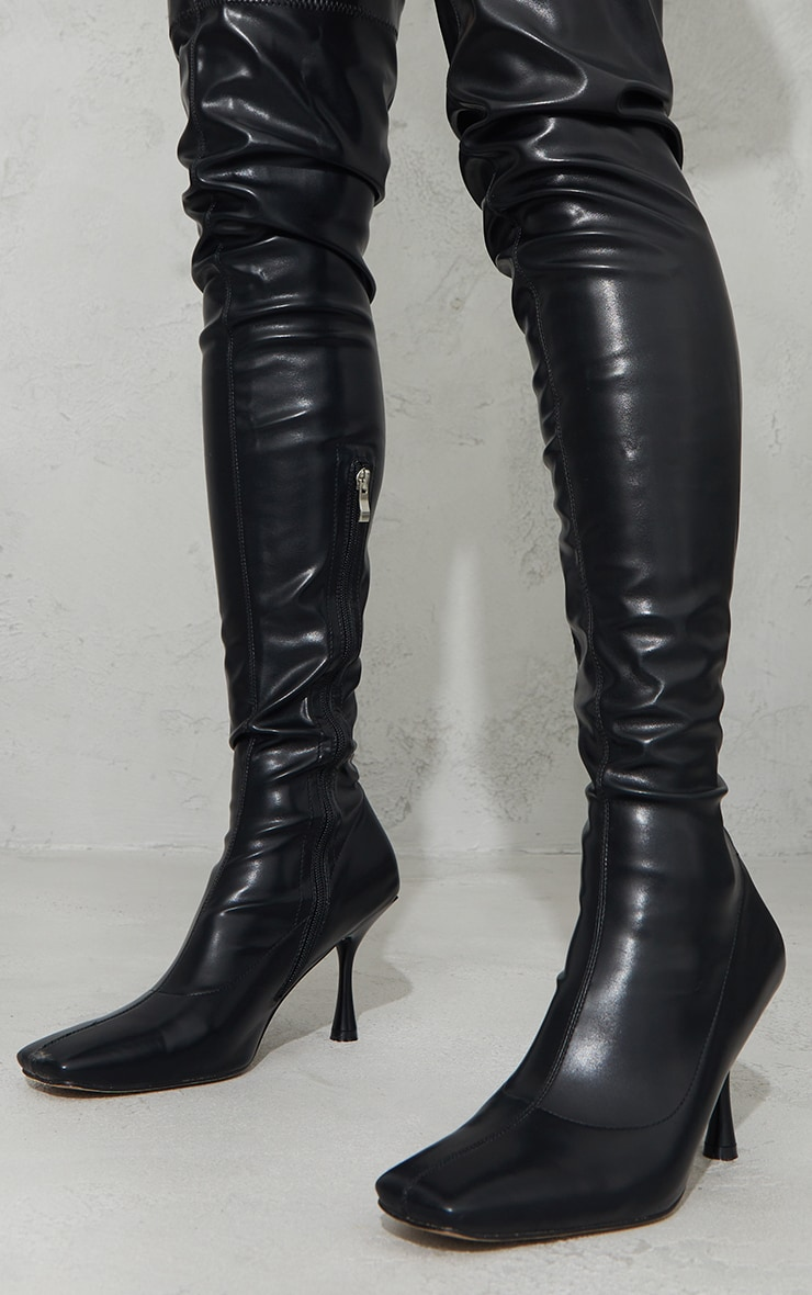 Black PU Square Toe Over The Knee Boots 3