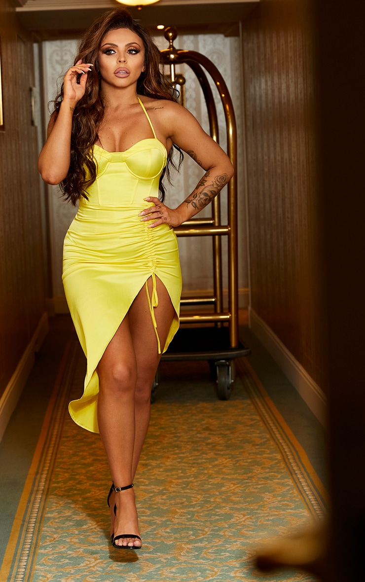 Yellow Satin Corset Detail Ruched Side Midi Dress 1