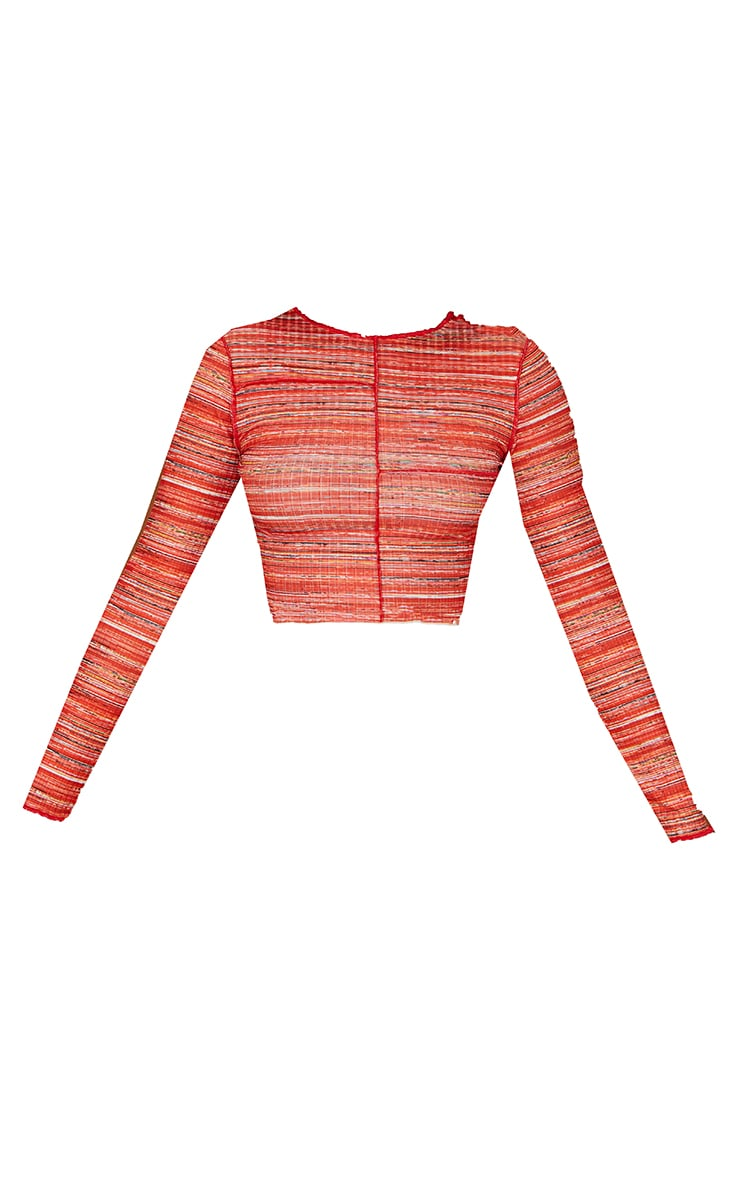 Recycled Red Space Dye Rib Frill Edge Crop Top 5