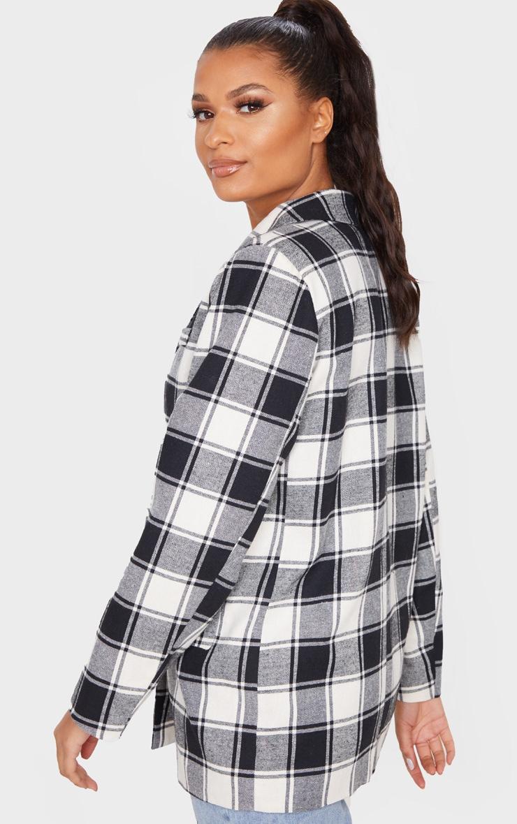Mono Check Print Oversized Woven Blazer 2