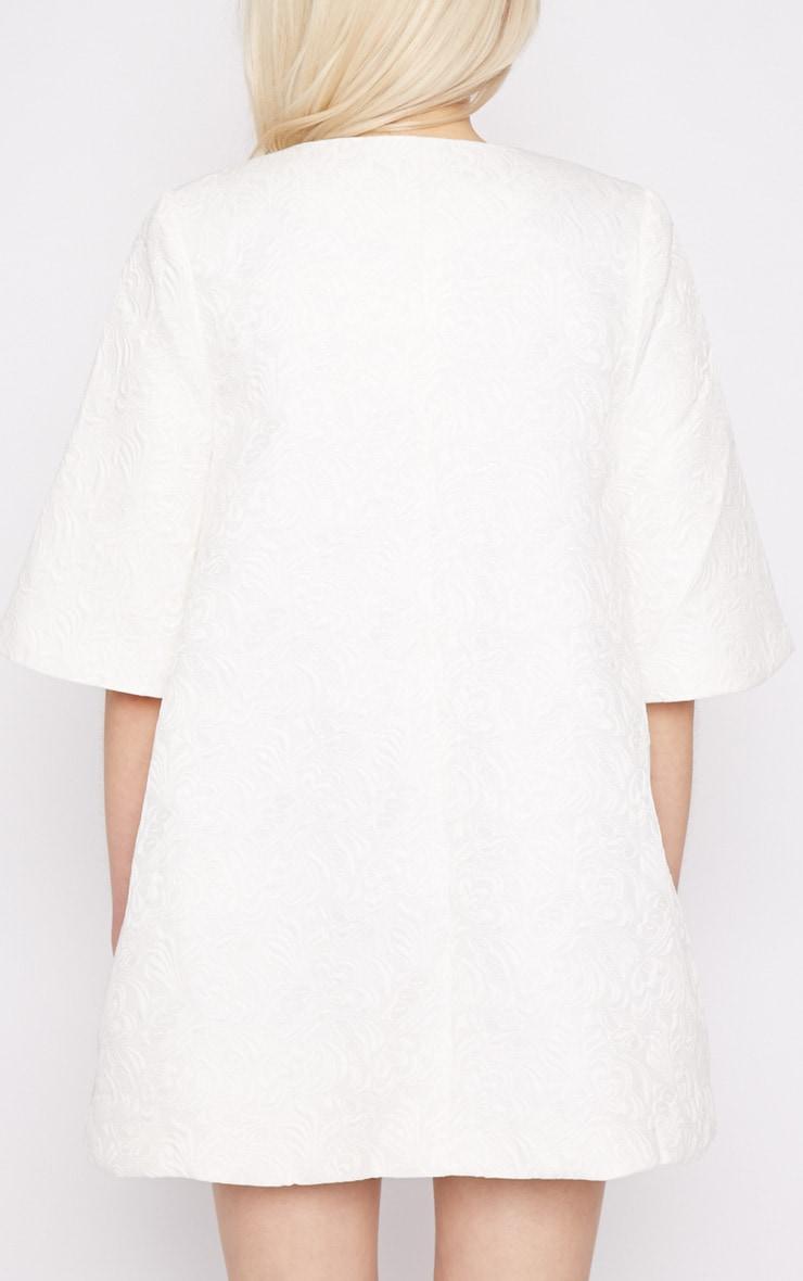 Cleo White Jacquard Bell Coat  2